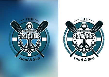 anchor marine: Seafarer badges in nautical blue with crossed oars behind a ships anchor in a circular frame with text