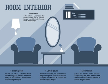luxury furniture: Room interior infographic template showing a living room decor with armchairs, a mirror, lamp, bookcase and table with copyspace for text in shades of blue, vector illustration Illustration