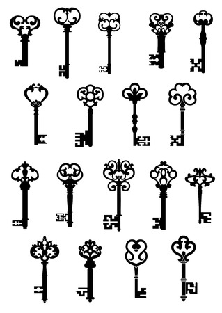Large set of black and white silhouette vector vintage keys with ornate patterned tops