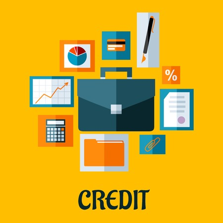 dossier: Credit concept in flat style with briefcase surrounded by icons depicting graphs and analysis, credit card, pen, contract, rate, paperwork, dossier and calculator Illustration