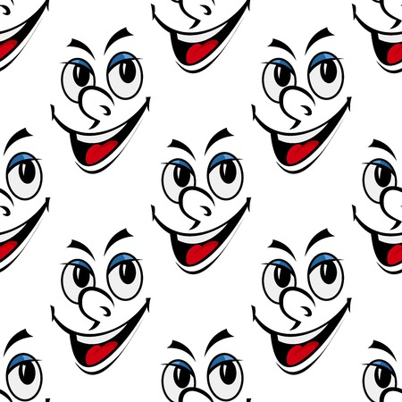 sneer: Happy smiling face seamless background pattern with a cute snub nose in a black and white vector motif