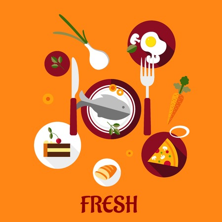 fresh food fish cake: Fresh food flat design with a set of colorful vector icons depicting cake, vegetables, fried eggs, pizza and sliced bread surrounding a central plate of fish on an orange background Illustration