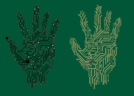 Hand prints formed with electrical circuit boards in two different colors on a green background, vector illustration