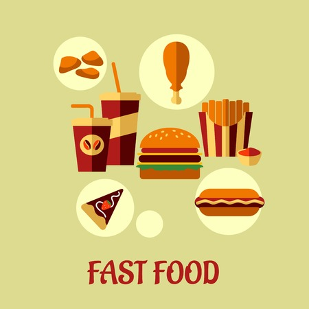 unhealthy food: Fast food flat poster design with colorful vector icons of dessert, beverages, chicken, french fries, pie and cheeseburger and text Fast Food below Illustration
