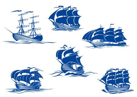 barco pirata: Azul grandes veleros o barcos de vela, uno con sus velas recogidas y los otros con sus velas llenas conjunto de crucero el océano, ilustración vectorial aislados en blanco