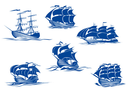 Blauwe lange schepen of zeilschepen, een met de zeilen opgeborgen en de anderen met hun volle zeilen set varen de oceaan, vector illustratie geïsoleerd op wit