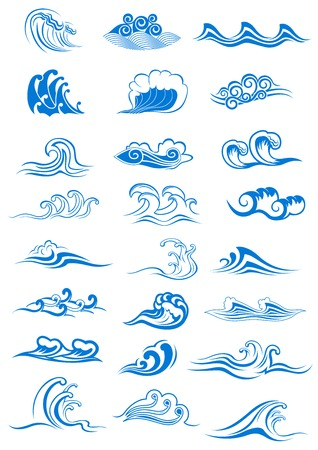Blue ocean waves set curling and breaking, with swirls and in undulating patterns, for marine or nautical themed concepts, vector illustration isolated on white