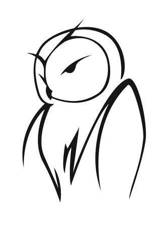 Stylized black and white vector doodle sketch of an owl in side view