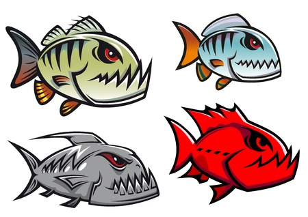Cartoon olorful pirhana fish characters with sharp jagged teeth in different designs, vector illustration