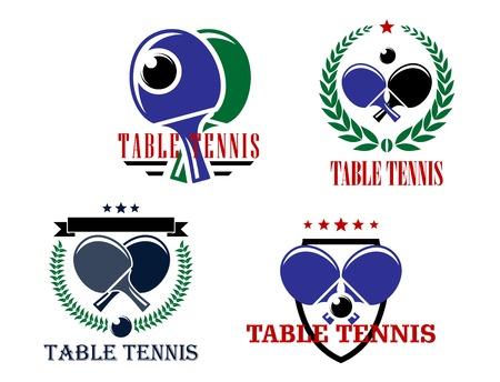 ping pong: Emblemas de vectores Mesa de ping pong o insignias logotipo de cada uno con palos cruzados y una pelota en coronas de laurel o un escudo con el texto Mesa de ping pong
