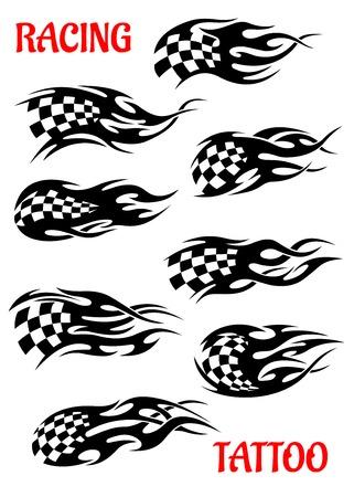 モーター レース風またはモーションと速度を描いた軌跡と飛行黒と白の市松模様のフラグのベクトル入れ墨の設定します。