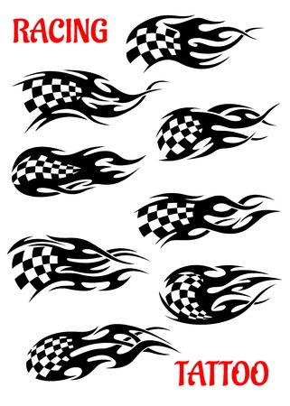Set of motor racing vector tattoos of black and white checkered flags flying in the wind or with trails depicting motion and speed Vector