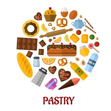 Disegno Pasticceria manifesto piatta con icone colorate piatti raffiguranti vari tipi di pane, dolci, ingredienti cottura e utensili da cucina con la pasticceria testo