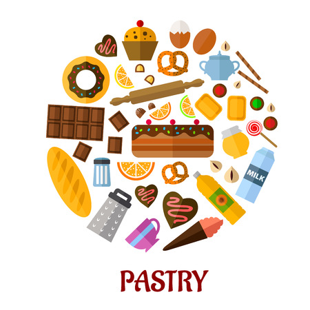 Pastry flat poster design with flat colored icons depicting various breads, cakes, baking ingredients and kitchen utensils with the text Pastry