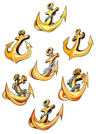 anchored: Swirling gold ships anchors with ropes and chains and pointed sharp barbs, vector illustration isolated on white Illustration