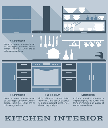 blue white kitchen: Kitchen interior vector flat design in infographic style with shades of blue depicting a fitted kitchen with built in appliances and cabinets and kitchen utensils with copyspace for text