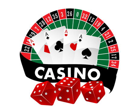 casino wheel: Casino emblem or badge with a roulette table and playing cards above a banner saying Casino and three red dice, vector illustration Illustration