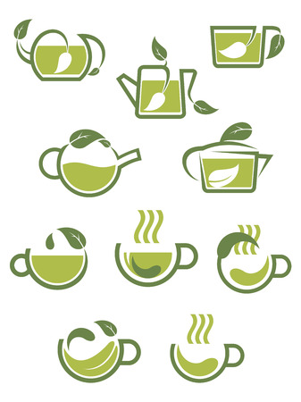 green plants: Green herbal tea icons with teapots and cups with leaves in shades of green Illustration