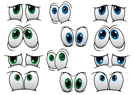 expresiones faciales: El dibujo animado azul y verde que expresan una variedad de emociones diferentes aislados en blanco para el diseño de cómics