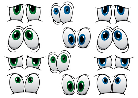 Blue and green cartoon eyes expressing a variety of different emotions isolated on white for comics design