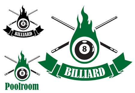 cues: Billiard icons with crossed cues behind a flaming number 8 ball, two with ribbon banners and text Billiard, and the third with text Poolroom Illustration