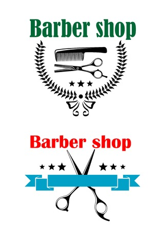 barber: Two vector barber shop emblems or signs, one with a com and scissors inside a round laurel wreath and the other with scissors, stars and a blank ribbon banner, both with text Barber Shop