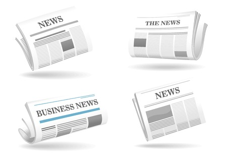 print media: Folded newspaper vector icons with type and picture mockup and various headings News, The News, Business News floating above shadows