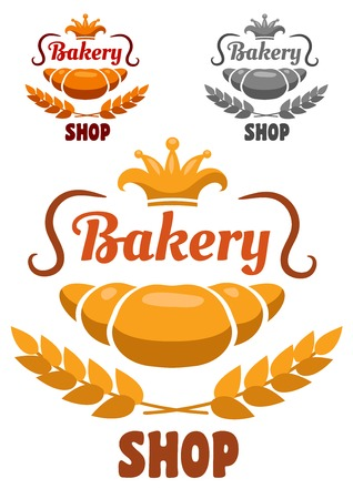 freshly baked: Bakery shop badge or label with a freshly baked croissant and ear of wheat with a crown and text  Bakery Shop