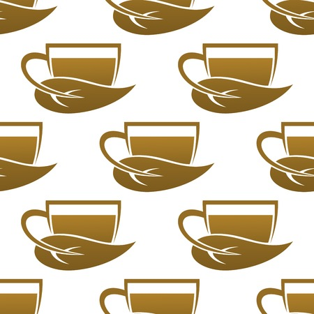produced: Seamless pattern of tea cups produced by sustainable farming methods in a repeat icon of a cup and leaf in square format