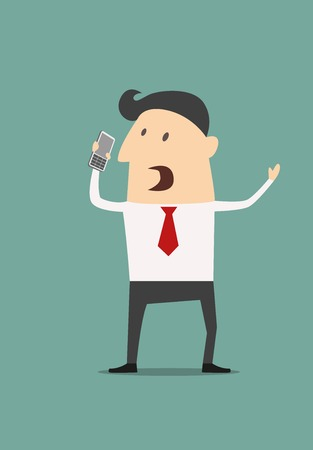 Cartoon businessman using a mobile phone holding it in his hand as he gestures and shouts Ilustrace