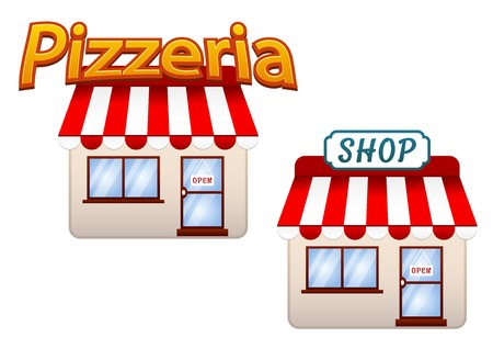 awnings: Cartoon vector shop and pizzeria icons with quaint buildings with striped red and white awnings, isolated on white