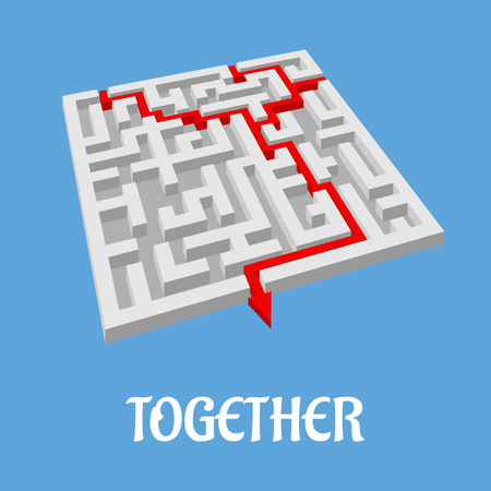 difficult decision: Labyrinth puzzle showing two alternative routes with two entry points combining for only one exit as shown by a red arrow, vector illustration