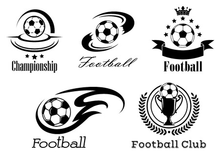 Football and soccer emblems or badges in black and white showing a football with motion trails, flames, banner and crown, wreath and trophy Illustration
