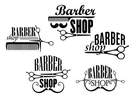 tijeras: En blanco y negro insignias Barbero o signos con texto decoradas con bigotes, tijeras y un peine. Ilustración vectorial Vectores