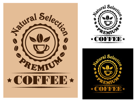 natural selection: Natural Selection Premium Coffee labels or logos with a circular frame containing a cup of coffee and a bean surrounded by the text in three different color variants Illustration