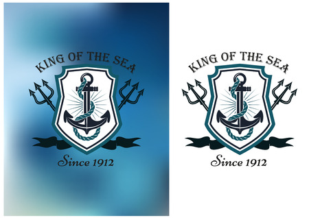 themed: King Of The Sea nautical themed badge or logo showing a ships anchor in a frame with crossed tridents on a white and blurred blue background, vector illustration