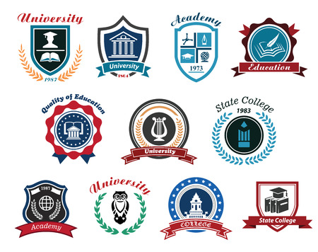 college building: University, academy and college emblems set for education industry design. Isolated on white background