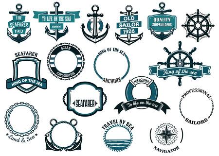海事または海洋のテーマのアイコンと船のアンカー、車輪および循環ロープ フレーム、盾を含むフレームのセット
