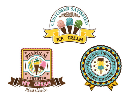 Ice cream badges and labels in circular and square frames showing ice lollies and cones with various text, vector illustration on white