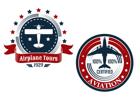 jetliner: Circular aviation emblems or badges showing a small private plane with text Airplane Tours and commercial jetliner with text Aviation