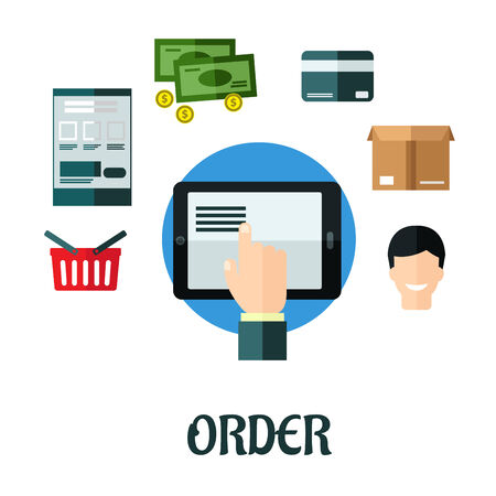 online form: Order and shop online flat concept showing a hand ordering on a tablet surrounded by a shopping basket, order form, money,credit card, packaging and smiling happy customer Illustration