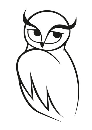 over the shoulder: Wise owl vector doodle sketch in black and white looking over its shoulder to the side. For wildlife, tattoo or another design