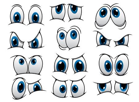 ojos tristes: Amplio conjunto de personas historieta que representa una variedad de expresiones con la ira, la tristeza, la sorpresa y la felicidad con iris azules, ilustración vectorial en blanco