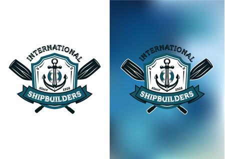 in oars: International Shipbuilders emblems  with crossed oars behind a frame enclosing a ships anchor in blue on a white and mottled blue background