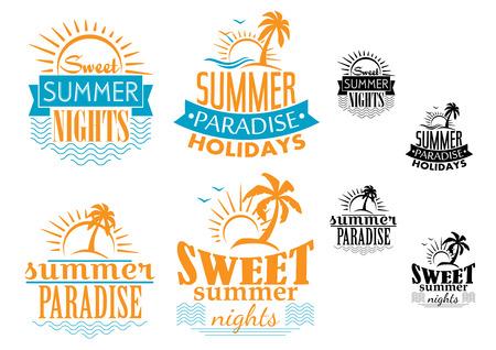 在蓝色和橙色的夏天,旅行和假期徽章描述海,棕榈树和太阳,传染媒介例证