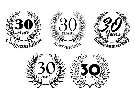 30 years: Black and white vector 30 Years anniversary laurel wreaths with various additional text for jubilee, celebration and award design
