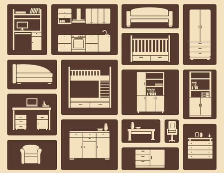 interior decorating: Brown e beige vettore piatte mobili e decorazione d'interni icone per configurazioni di sala e design infografica