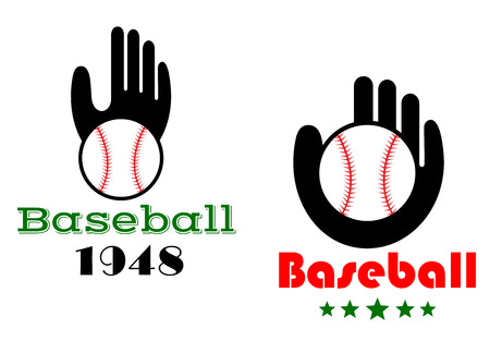 either: Baseball icons or emblems with people hand showing a ball in a glove with text  Baseball  and either a date or stars, vector illustration on white