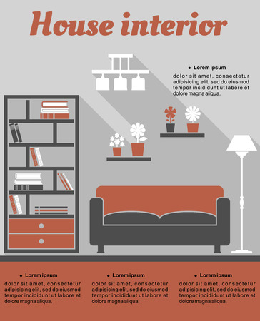 House Living room interior infographic template showing room with sofa, bookcase and lamp with copyspace for text Vector