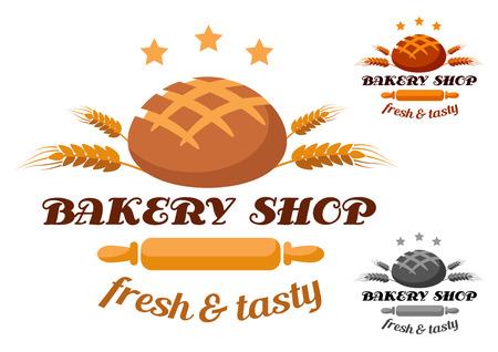 pain frais: Boulangerie �tiquette montrant un rouleau � p�tisserie, pain frais et de bl� avec du texte Bakery Shop, frais et savoureux en trois variantes de couleur